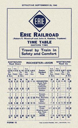 Erie Timetable